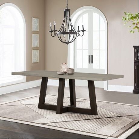 Elodie Grey Concrete and Dark Grey Oak Rectangle Dining Table