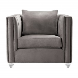 Emperor Contemporary Chair with Acrylic Finish, Beige Fabric and Pillows