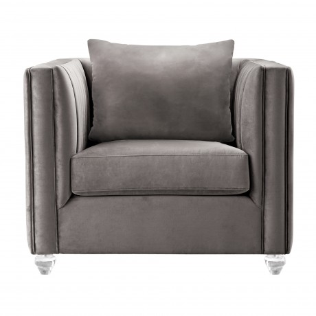 Armen Living Emperor Contemporary Chair with Acrylic Finish, Beige Fabric and Pillows