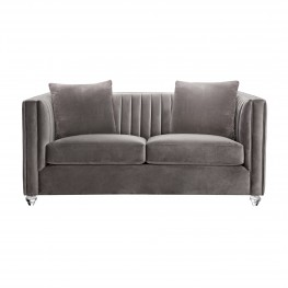 Emperor Contemporary Loveseat with Acrylic Finish, Beige Fabric and Pillows