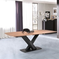 Everett Contemporary Dining Table in Matte Black Finish and Walnut Top