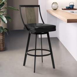 "Easton 26"" Counter Height Barstool in Matte Black Finish with Vintage Black Faux Leather and Grey Walnut"
