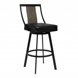 "Easton 30"" Bar Height Barstool in Matte Black Finish with Vintage Black Faux Leather and Grey Walnut"