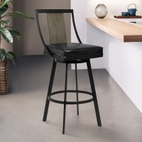 "Armen Living Easton 30"" Bar Height Barstool in Matte Black Finish with Vintage Black Faux Leather and Grey Walnut"
