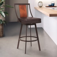 "Armen Living Easton 26"" Counter Height Barstool in Auburn Bay with Brown Faux Leather and Sedona Wood"