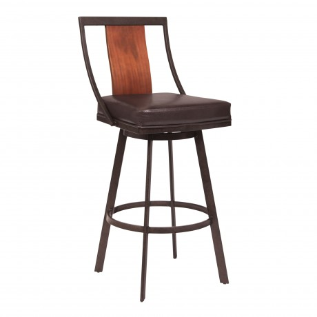 "Armen Living Easton 30"" Bar Height Barstool in Auburn Bay with Brown Faux Leather and Sedona Wood"
