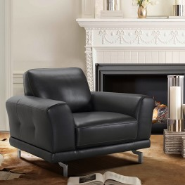 Everly Contemporary Chair in Genuine Black Leather with Brushed Stainless Steel Legs