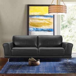 Everly Contemporary Sofa in Genuine Black Leather with Brushed Stainless Steel Legs