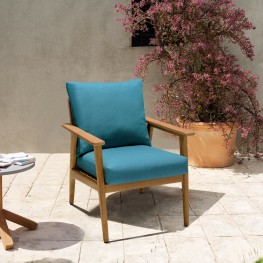 Eve Outdoor Teak Wood Lounge Chair with Teal Olefin
