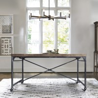 Enzo Industrial Dining Table in Industrial Grey and Pine Wood