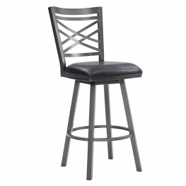 "Fargo 30"" Bar Height Metal Barstool in Mineral Finish with Black Faux Leather"