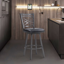 """Fargo 30"""" Counter Height Metal Barstool in Mineral Finish with Black Faux Leather"""