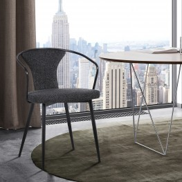 Francis Contemporary Dining Chair in Black Powder Coated Finish and Black Fabric