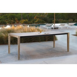 """Fineline Indoor Outdoor 80"""" Rectangle Dining Table in Light Eucalyptus Wood and Super Stone"""