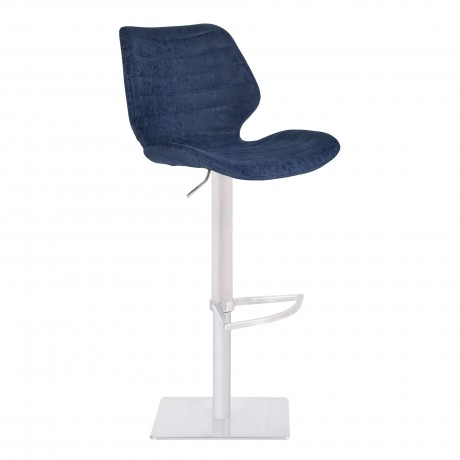 Falcon Adjustable Swivel Barstool in Brushed Stainless Steel with Dark Vintage Blue Faux Leather