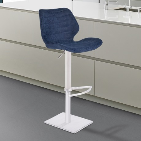 Armen Living Falcon Adjustable Swivel Barstool in Brushed Stainless Steel with Dark Vintage Blue Faux Leather