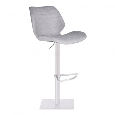 Armen Living Falcon Adjustable Swivel Barstool in Brushed Stainless Steel with Light Vintage Grey Faux Leather