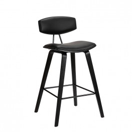 """Fox 26"""" Mid-Century Counter Height Barstool in Black Faux Leather with Black Brushed Wood"""
