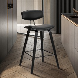 """Fox 30"""" Mid-Century Bar Height Barstool in Black Faux Leather with Black Brushed Wood"""