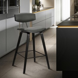 """Fox 26"""" Mid-Century Counter Height Barstool in Grey Faux Leather with Black Brushed Wood"""