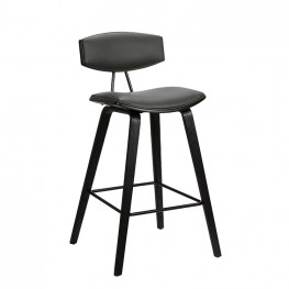 """Fox 30"""" Mid-Century Bar Height Barstool in Grey Faux Leather with Black Brushed Wood"""