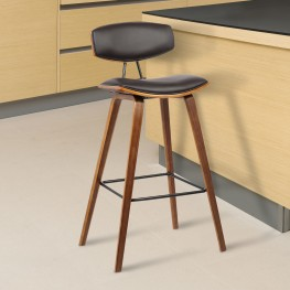 """Fox 25.5"""" Mid-Century Counter Height Barstool in Brown Faux Leather with Walnut Wood"""