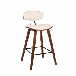 "Fox 26"" Mid-Century Counter Height Barstool in Cream Faux Leather with Walnut Wood"