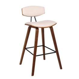 "Fox 30"" Mid-Century Bar Height Barstool in Cream Faux Leather with Walnut Wood"