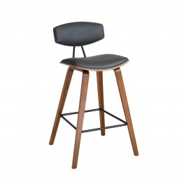 "Fox 26"" Mid-Century Counter Height Barstool in Gray Faux Leather with Walnut Wood"