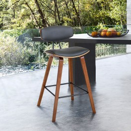 """Fox 25.5"""" Mid-Century Counter Height Barstool in Gray Faux Leather with Walnut Wood"""