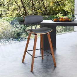 """Fox 28.5"""" Mid-Century Bar Height Barstool in Gray Faux Leather with Walnut Wood"""