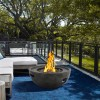 Castaic Outdoor Patio Fire Pit in Brown with Concrete Texture Finish