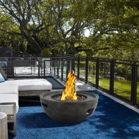 Armen Living Castaic Outdoor Patio Fire Pit in BrownwithConcrete Texture Finish