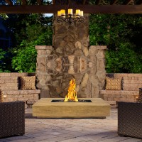 Armen LivingEmber Outdoor Patio Fire Pit in BrownwithNature Wood Texture Finish