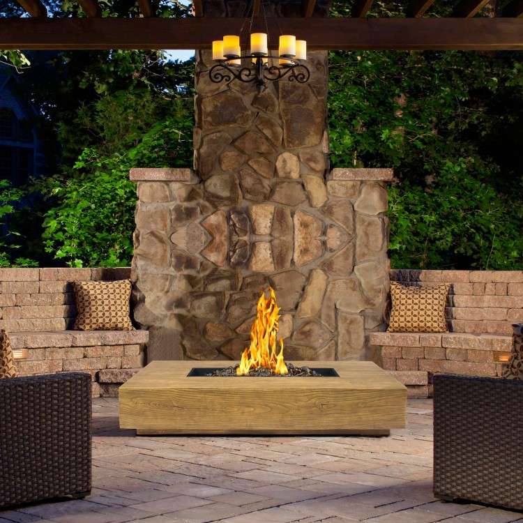 Ember Outdoor Patio Fire Pit In Brown With Nature Wood Texture Finish