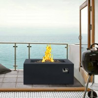 Armen Living Laurel Outdoor Patio Fire Pit in Dark Grey with Concrete Texture Finish