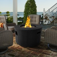 Armen Living Moon Outdoor Patio WickerFire Pit in Blackwith Nature Texture Finish