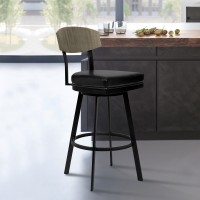 "Armen Living Frisco 26"" Counter Height Barstool in Matte Black Finish with Black Faux Leather and Grey Walnut"