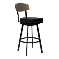 "Armen Living Frisco 30"" Bar Height Barstool in Matte Black Finish with Black Faux Leather and Grey Walnut"