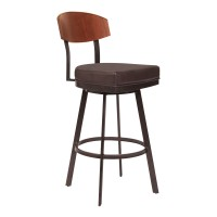"Armen Living Frisco 26"" Counter Height Barstool in Auburn Bay with Brown Faux Leather and Sedona Wood"