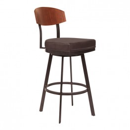 "Frisco 26"" Counter Height Barstool in Auburn Bay with Brown Faux Leather and Sedona Wood"