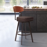 "Armen Living Frisco 30"" Bar Height Barstool in Auburn Bay with Brown Faux Leather and Sedona Wood"