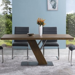 Armen Living Fusion Contemporary Dining Table In Walnut Wood Top and Stainless Steel