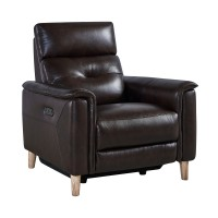 Gala Brown Contemporary Top Grain Leather Power Recliner  Chair with USB