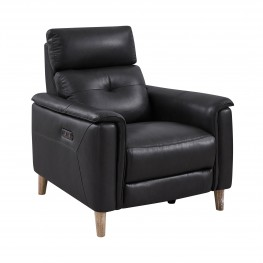 Gala Pewter Contemporary Top Grain Leather Power Recliner Chair with USB