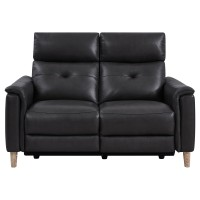Gala Pewter Contemporary Top Grain Leather Power Recliner Loveseat with USB