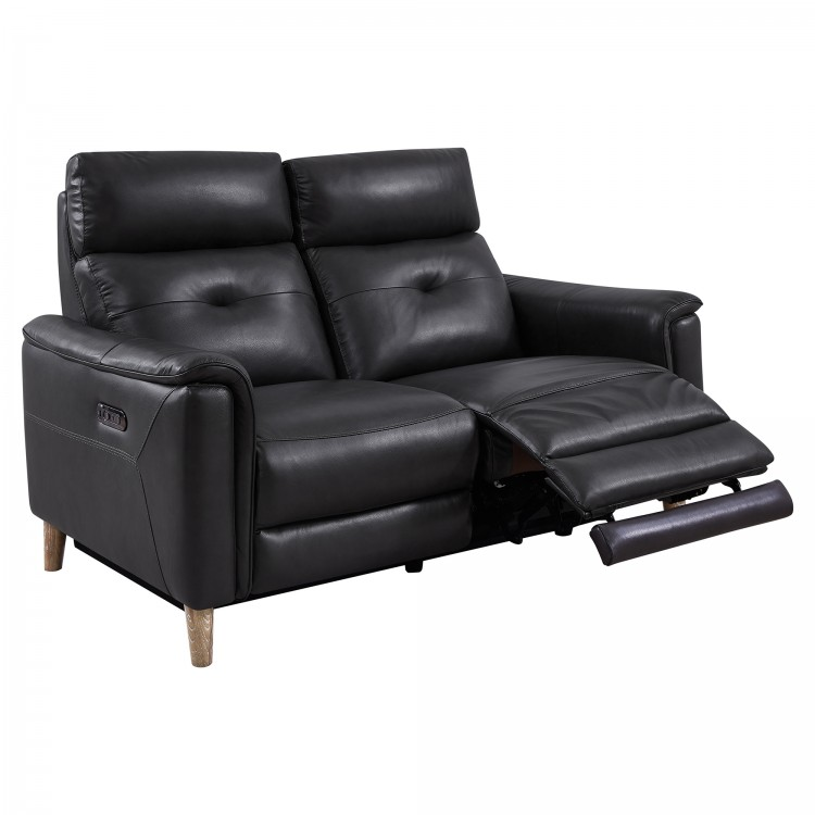 Gala Pewter Contemporary Top Grain Leather Power Recliner