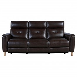 Gala Brown Contemporary Top Grain Leather Power Recliner Sofa with USB