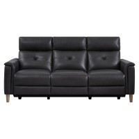 Gala Pewter Contemporary Top Grain Leather Power Recliner Sofa with USB