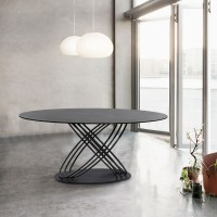 Armen Living Glacier Contemporary Dining Table in Grey Powder Coated Finish and Grey Stone Glass Top